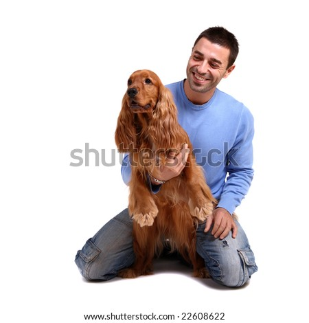 handsome man with dog over white background