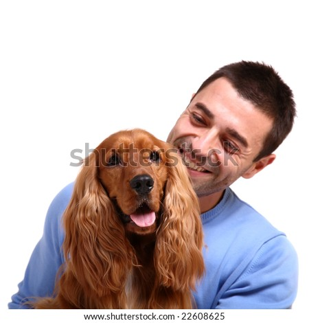 handsome man with dog over white background - stock photo