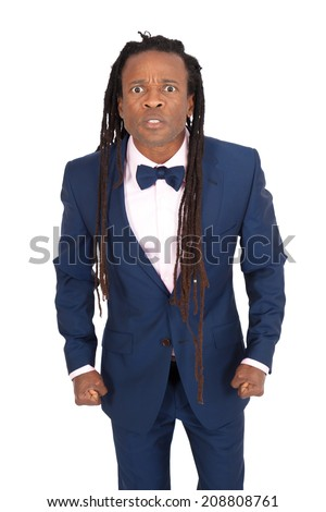 Handsome man with dreadlocks doing different expressions in different sets of clothes: angry - stock photo