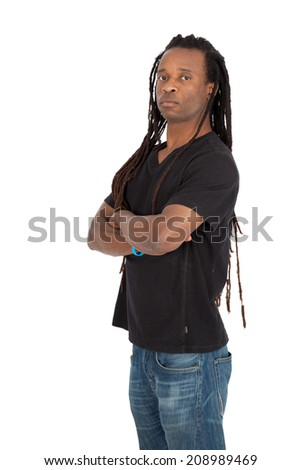 Handsome man with dreadlocks doing different expressions in different sets of clothes: arms crossed