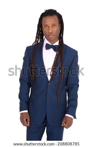 Handsome man with dreadlocks doing different expressions in different sets of clothes: sad - stock photo
