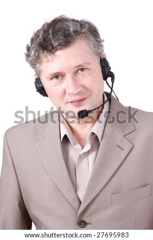 Handsome man with headset. Customer service. Call center operator.  Hotline operator with headset.  Helpdesk or support operator.