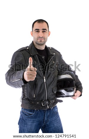 Handsome man with Helmet off - stock photo