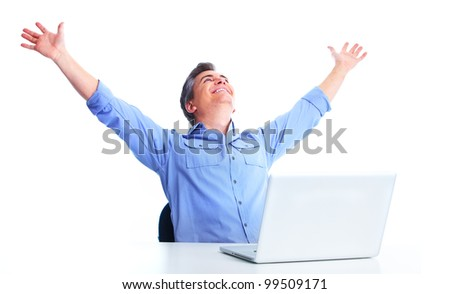 Handsome man with laptop computer. Isolated over white background. - stock photo