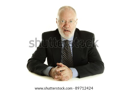Handsome mature business man is expressing with lips how he is disappointed on white background