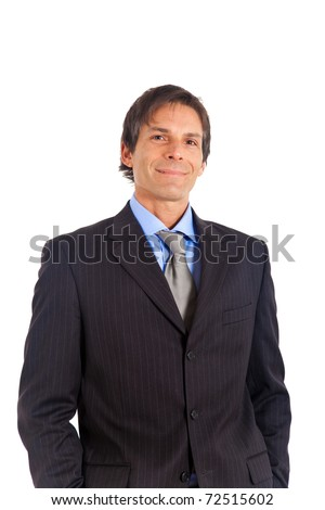 Handsome mature businessman isolated on white - stock photo