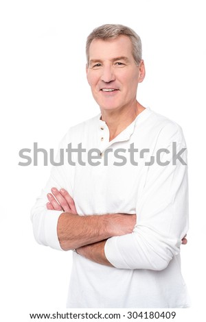 Handsome mature man isolated over white with arms crossed
