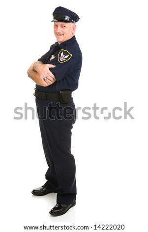 Handsome, mature police officer in a relaxed pose with arms crossed.  He's leaning back on invisible white space.  Insert your sign.