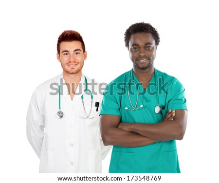 Handsome medical team isolated on a white background
