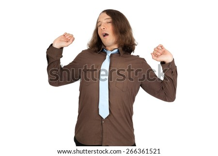 Handsome men doing different expressions in different sets of clothes: arms raised - stock photo