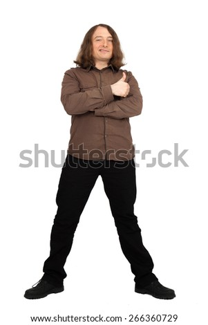 Handsome men doing different expressions in different sets of clothes: thumbs up full quarter length - stock photo