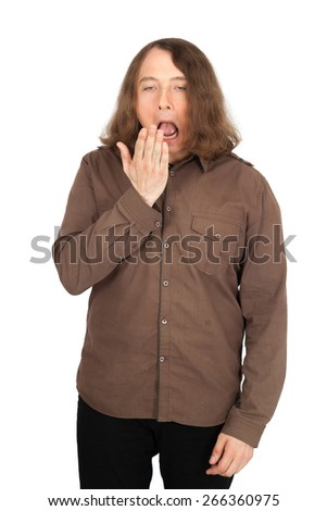 Handsome men doing different expressions in different sets of clothes: yawn - stock photo