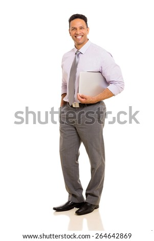 handsome mid age business executive holding laptop - stock photo