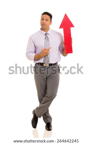 handsome mid age businessman pointing red arrow symbol isolated on white - stock photo