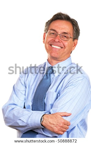 Handsome middle age businessman in shirt and tie - stock photo