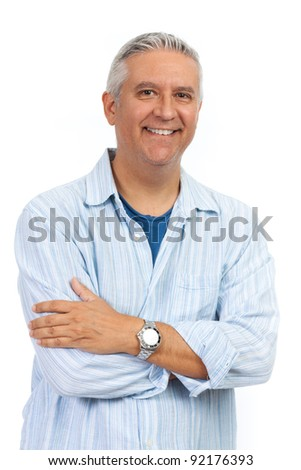 Handsome middle age man on a white background.