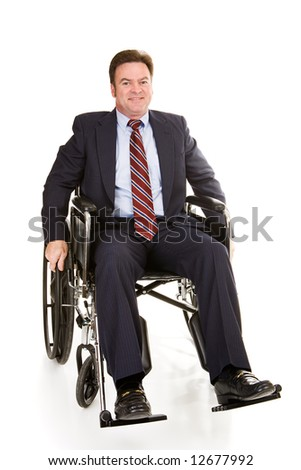 Handsome middle aged businessman in wheelchair. Full body isolated on white. - stock photo