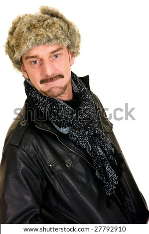 Handsome middle aged casual dressed for winter, studio shot, white background - stock photo