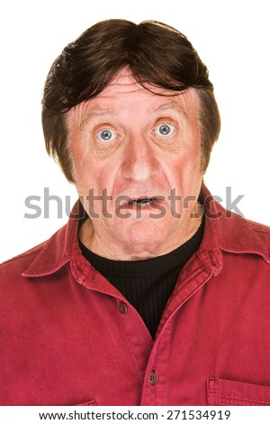 Handsome middle aged male over white background