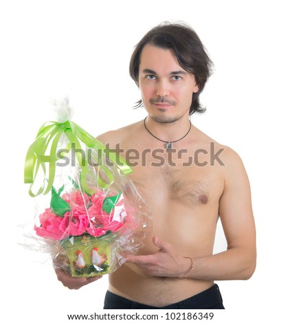 handsome middle aged man with a bouquet of  artificial flowers isolated on white background - stock photo