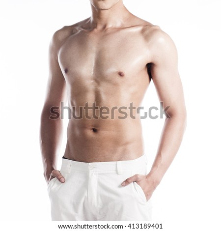 Handsome muscular man on white background - stock photo
