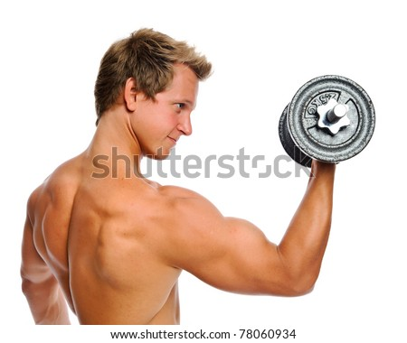 Handsome muscular man uses his dumbbell to exercise; flexing bicep muscle - stock photo