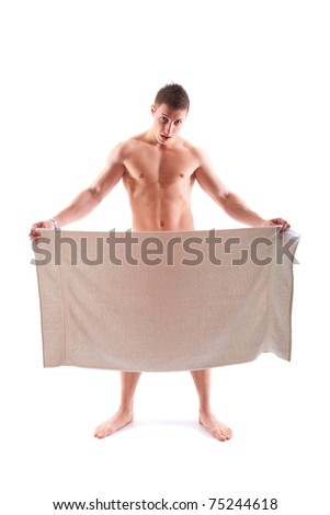 handsome  muscular man with towel isolated