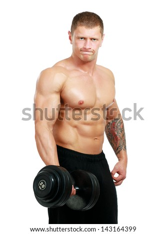 Handsome muscular man working out with dumbbells on white background - stock photo