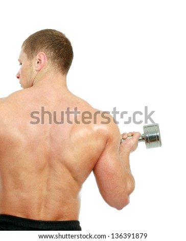 Handsome muscular man working out with dumbbells over white background - stock photo