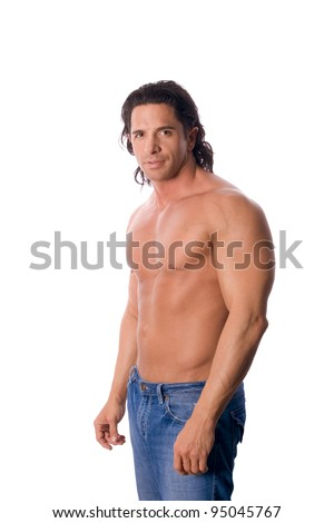 handsome muscular shirtless man in jeans - stock photo