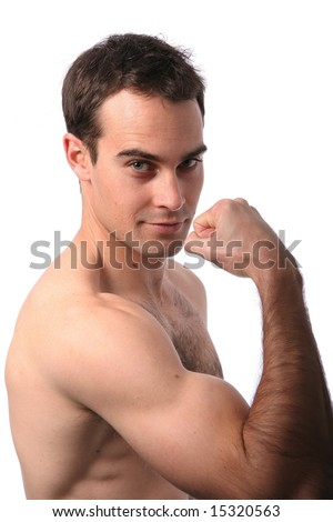 Handsome muscular young man showing his bicep muscle