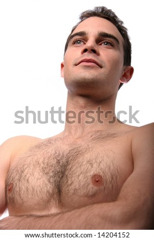 Handsome muscular young man with bare chest - stock photo