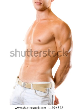 Handsome muscular young man with naked torso, isolated on white - stock photo