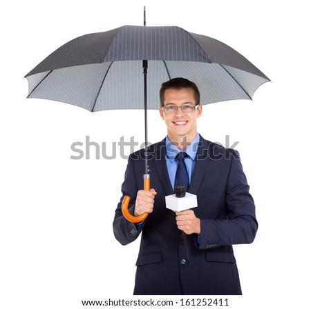 handsome news journalist holding umbrella over white background - stock photo