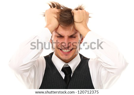Handsome office worker have a stress over a white background - stock photo