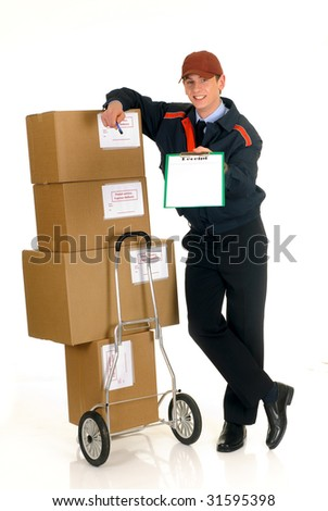 handsome postman making a delivery, post package. Studio, white background. - stock photo