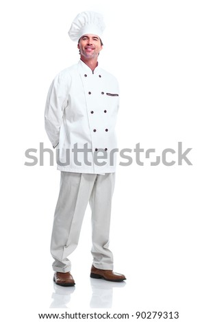 Handsome professional chef man. Isolated over white background - stock photo