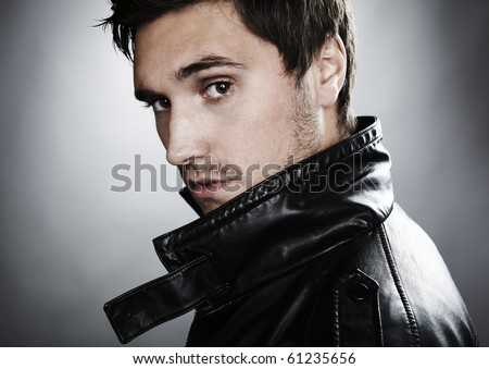 handsome profile smile portrait young man face detail closeup - stock photo