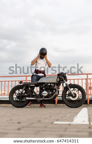 Handsome Rider Man Beard Mustache Posing Stock Photo 644006425