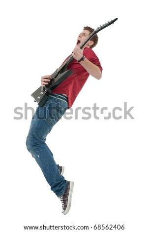 Handsome rock star with guitar over white - stock photo
