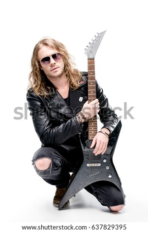 Handsome Rocker In Sunglasses Posing With Electric Guitar Isolated On White Player Concept