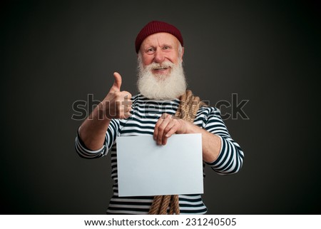 Handsome sailor isolated on black background. Seaman. - stock photo