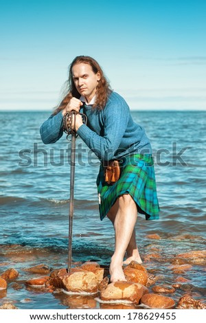 Handsome scottish man - stock photo