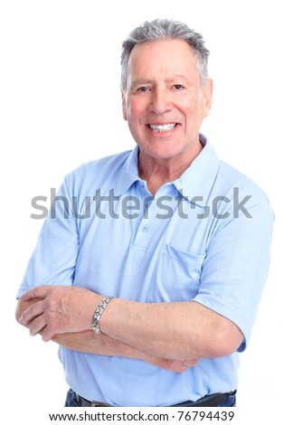 Handsome senior man . Isolated over white background - stock photo