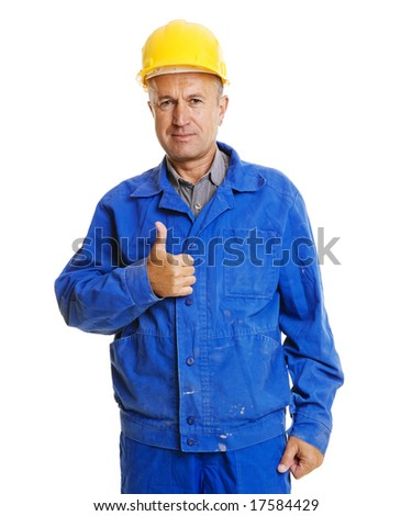 handsome senior worker showing thumbs up. isolated on white background - stock photo