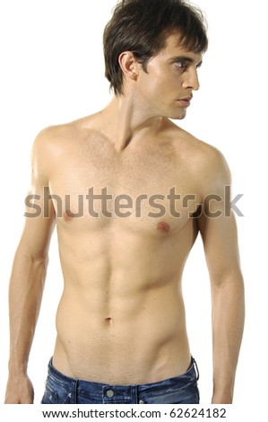 Handsome sexy young man on white - stock photo