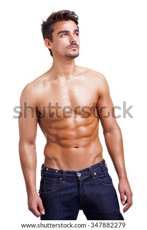 Handsome shirtless man on white background