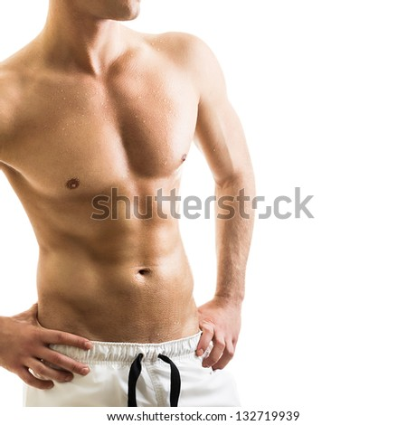 Handsome shirtless young man