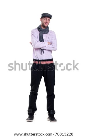 handsome, shy, sensitive young man - stock photo