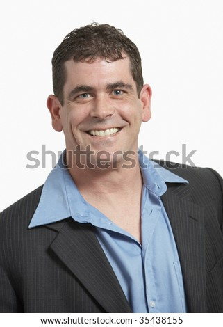 Handsome smiling adult caucasian man on white background - stock photo